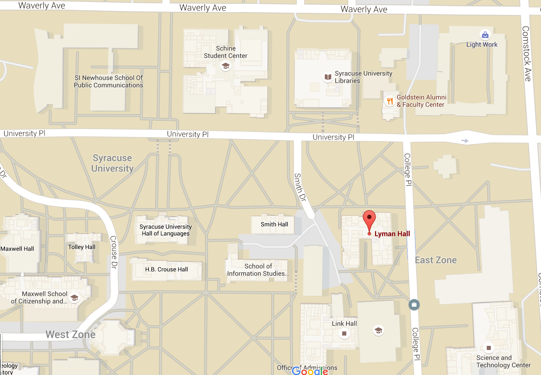 SU Lyman Hall Google Maps
