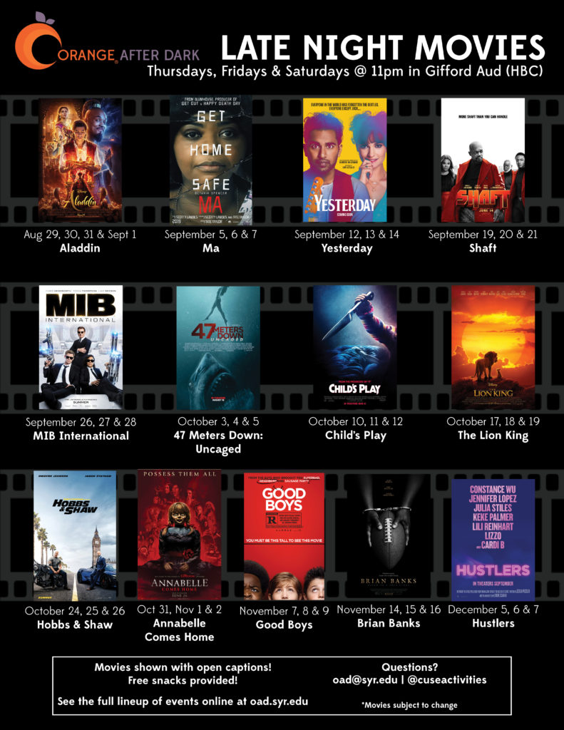 This is the Fall 2019 OAD Movie Listing